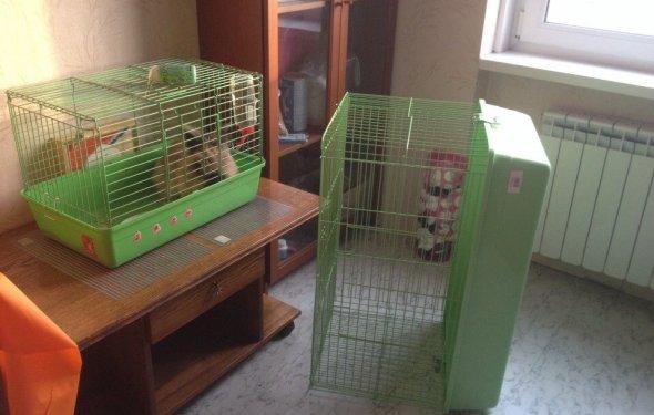 две клетки для кролика разные